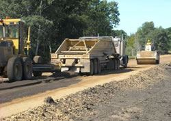 Construction Vehicle Paving a Road